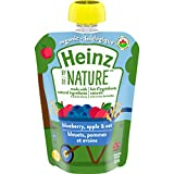 Heinz by Nature Organic Baby Food - Blueberry, Apple & Oat Purée - 128mL Pouch (Pack of 6)