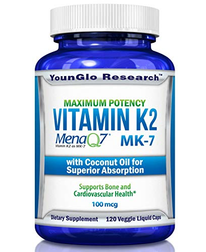 Vitamin K2 MK7 - MenaQ7 and Coconut Oil for Superior Absorption - 120 Soy-Free Non-GMO Vegetarian Liquid Caps 100 mcg. (1 Pack)