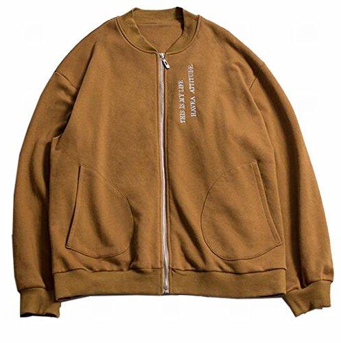 Jacket Sleeve Collar Fashion UK Long Baseball Stand Camel Mens today Coat 8awIq