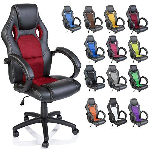 Racing Chefsessel Bürostuhl Drehstuhl 14 Farbvarianten, gepolsterte Armlehnen, Wippmechanik, Lift SGS geprüft (schwarz/rot)
