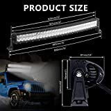 LED Light Bar, Rigidhorse 5D Lens 32 inch 300W Flood Spot Combo Beam Light Driving Lamp Off Road Lights with Wiring Harness for Boat, Jeep, 4 X 4, SUV, UTV, ATV, Super Bright and Waterproof