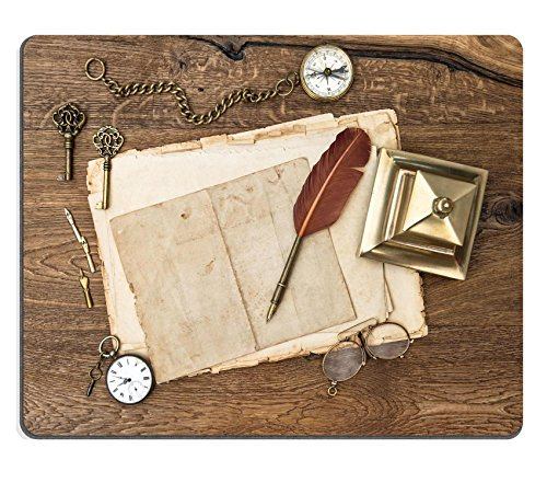 [MSD Mousepad IMAGE 30537891 antique accessories and office supplies over wooden table background vintage keys clock glasses feather pen compass nostalgic sentimental picture] (Office Depot Desk Accessories)