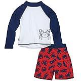 Sun Smarties Boys Crab Longsleeve Rashguard and Swim Diaper Trunks 12 Month Red