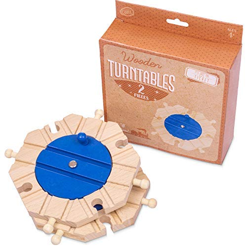 Conductor Carl Wooden Train Track Turntables (2-Pack) | Eight-Way Rotating Directing and Switching Accessory | Compatible Playset Expansion for Major Hobby and Toy Brands from Conductor Carl