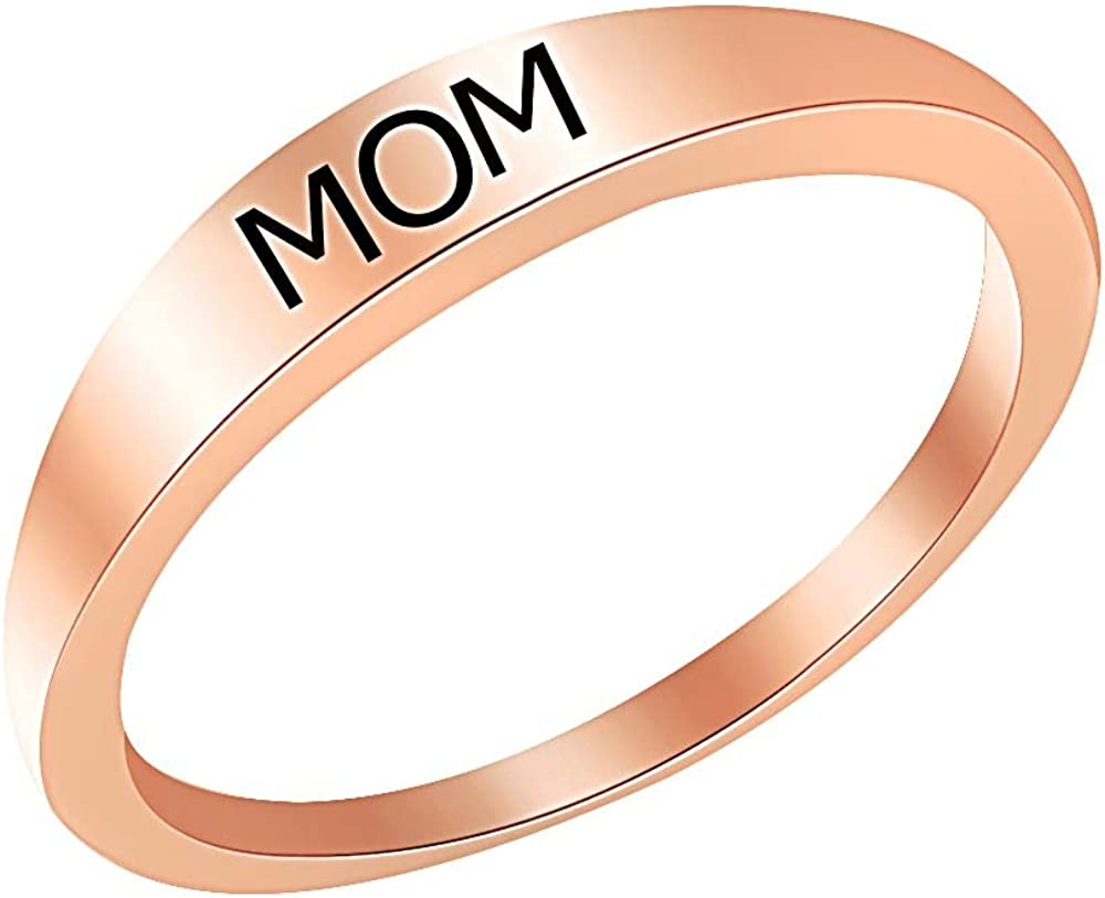 Wishrocks 14K Gold Over Sterling Silver MOM and DAD Band Ring for Mens /& Womens Fashion Jewelry