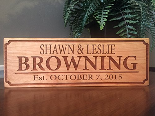 Qualtry Personalized by Family Name Custom Wood Signs 5×15 – Personalized Wedding Gifts Wooden Sign (Cherry Wood, Browning Design)