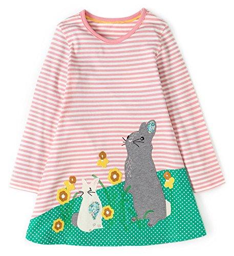 - BEILEI CREATIONS KIDSALON Girls Cotton Casual Longsleeve Cartoon Princess Dress With Pocket (4T, Rabbit)