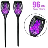 EOYIZW Solar Flame Lights Purple Fire Flickering Torch Light 96 LEDs Flame Spotlights Waterproof Dusk to Dawn Lighting Lamp for Garden Patio Path (2 Pack)