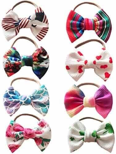 Baby Girl Nylon Headbands Turban Newborn Infant Toddler Hairbands with Bows Children Hair Accessories