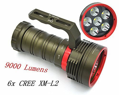 White : 2015 Waterproof 6X CREE XM-L2 9000LM LED 18650 Diving Flashlight Underwater Lamp Torch