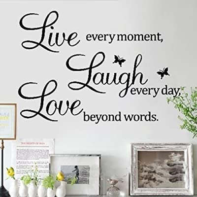 "Amaonm® Removable Vinyl Quotes and Saying ""Dr. Seuss Live Every Moment, Laugh Every Day, Live Beyond Words"" Family Wall Decal Stickers Murals Home Art Decor"