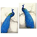 Peacock Canvas Art Prints,Peacock Canvas Wall Art Home Wall Decal,Canvas Art with Frame,Ready Hanging On,Animal Peacock Wall Art (Modern Blue)