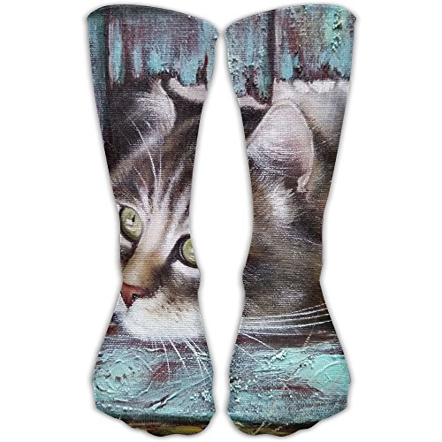 Oil Painting Cats Women & Men Socks Soccer Sport Tube Stockings Length -