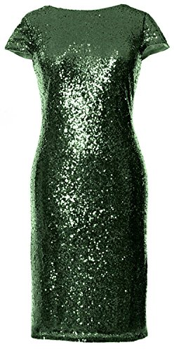 MACloth Gorgeous Cap Sleeves Short Bridesmaid Dress Sequin Cocktail Formal Gown Verde Oscuro