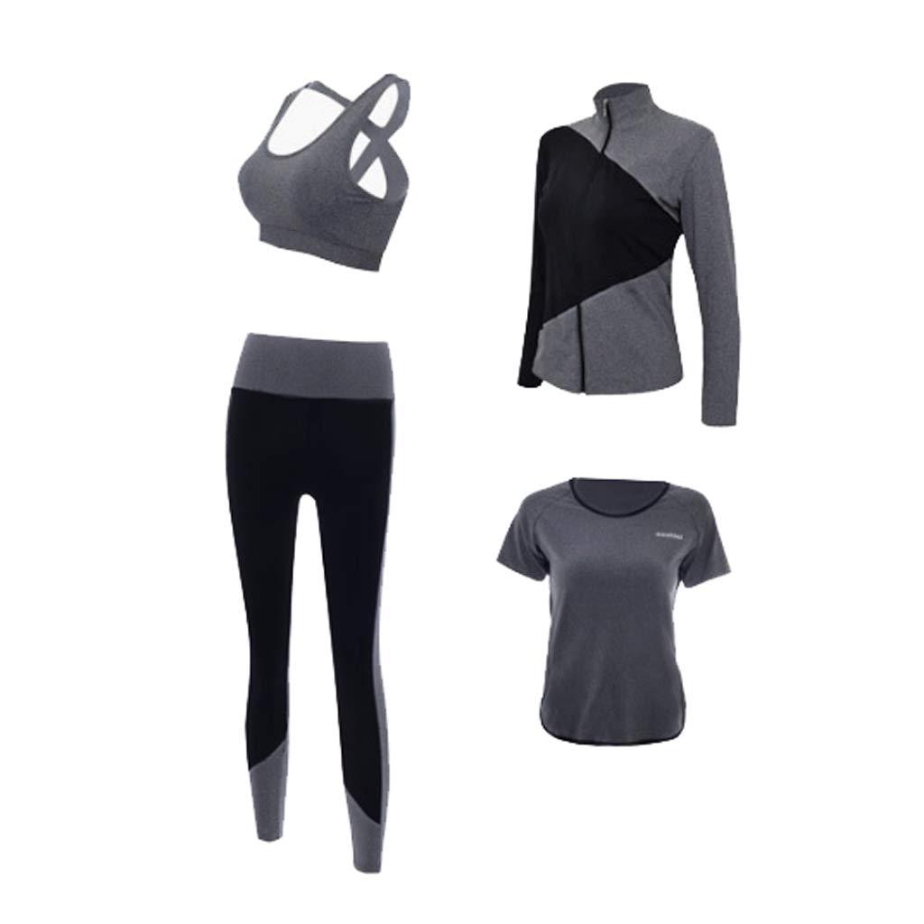 Lilongjiao Yoga Kleidung Trainingskleidung Laufen Sport Anzug Vier Sätze von Damen Fitness Bekleidung Stretch Yoga Kleidung Strumpfhosen