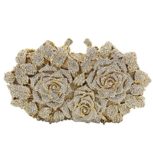 Di Cristallo Diamanti Da Fiori Donne Fascia Pochette Gold Borsa Di Lusso Delle Alta Sera Di xzTvF0Rqw