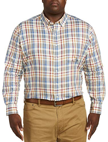Oak Hill by DXL Big and Tall Madras Plaid Sport Shirt