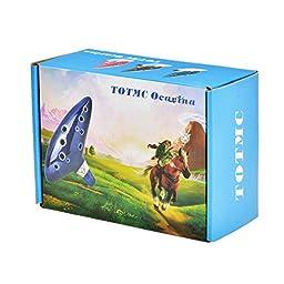 TOTMC Legend of Zelda Ocarina of Time Triforce Link 12 Hole Alto C Mediant Tone Ocarina Zelda Cosplay Ceramic Replica + Textbook