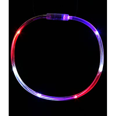 Fun Central LED Light Up Chaser Necklace, Flashing Lights Necklace Party Supplies for July 4th Events & Parties - Red White Blue: Toys & Games