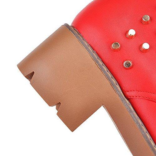 Zipper Red Pu Kitten Mid Womens Heels Top Solid AmoonyFashion Boots zpqXOzx