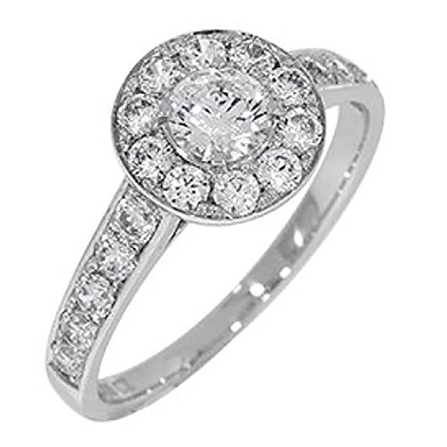 Solid Sterling Silver Halo Engagement Ring with 1/4 ct Cubic Zirconia Center and Accent-Size 6.5 (DZHS) ()