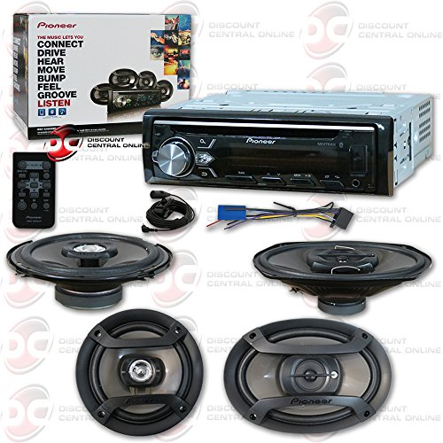 """Pioneer Package Includes 1DIN Car Stereo CD Player Bluetooth Receiver and 6.5"""" 2-Way Coaxial Speakers + 6x9"""" 3-Way Speakers"""