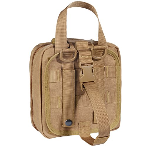 Medical Pouch - Tactical MOLLE Rip-Away 1000D EMT Utility Pouches With Buckle Strap and Velcro Attachment - Free Bonus First Aid Patch And Shear (Tan)