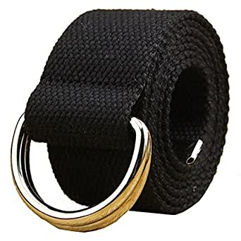 Canvas Web Belt Double D-ring Buckle 1 1/2 Inch Extra Long Metal Tip Solid Color Father's Day Gifts