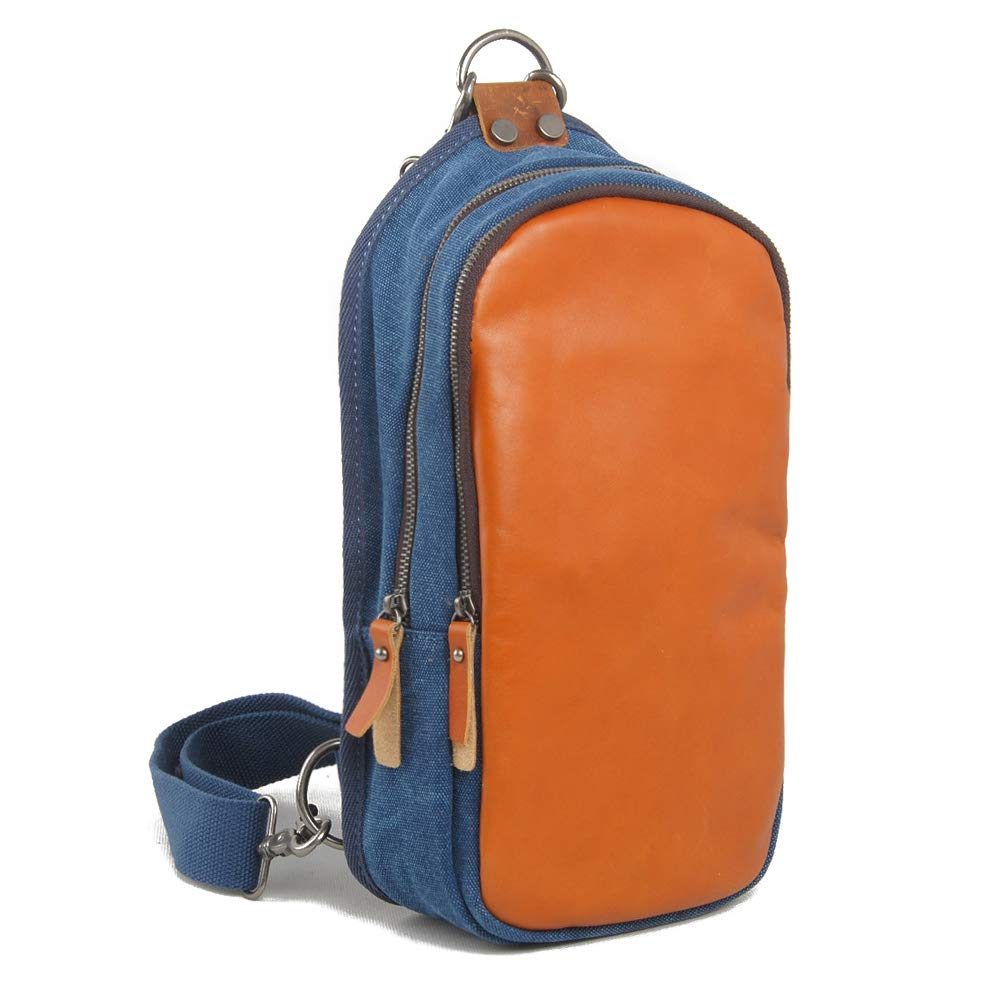 Herren Tasche Herren Brusttasche Multifunktions Outdoor Sports Umhängetasche Mode Schulter Messenger Rucksack (Dunkelblau)