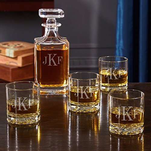 Classic Monogrammed Glasses and Decanter Set by HomeWetBar - Great for Whiskey Lovers -