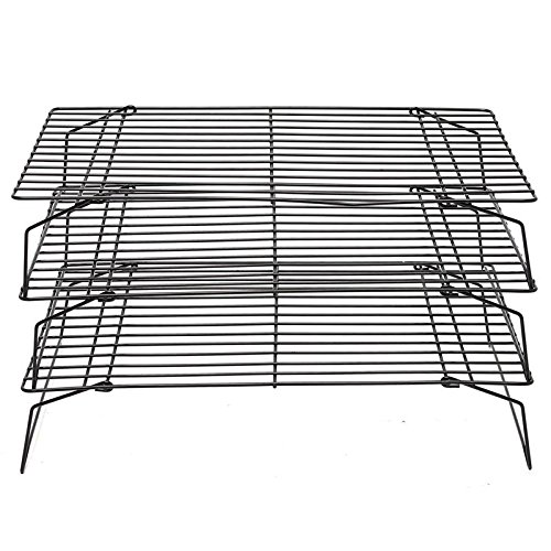 Xiaolanwelc@ 3 Tier Steel Baking Cooling Rack Tray Cookie Cake Food Stackable Kitchen Non-Sticky Retractable Tools Cupcake Cooling Gadgets