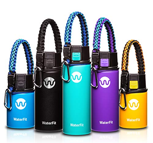 lated Water Bottle - Double Wall Stainless Steel Leak Proof BPA Free Sports Wide Mouth Water Bottle - 12 oz, 16 oz or 20 oz - 5 Colors with Paracord Handle ()