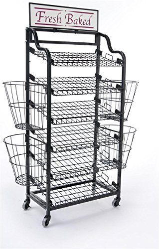 64 inchh Bakers Rack with 6 Tilting Wire Shelves and 4 Wire Side Baskets, Storage Shelving Rack with Wheels Includes 2 Sign Holders and Complimentary  inchFresh Baked inch Header, Black