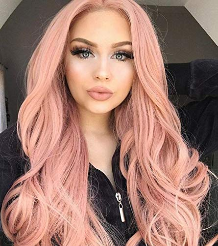 AOZWIG Long Wavy Orange Pink Heat Resistant Fiber Synthetic Wig Natural Looking Middle Part Cosplay Wigs for Charming Women Girls Wave Wig 22 Inch -