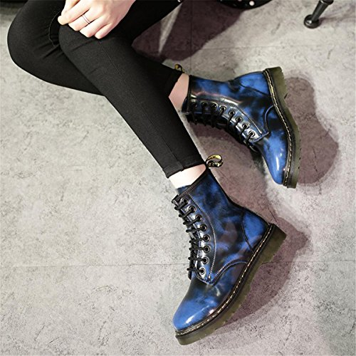 Inverno Partito Low Pattini Rosso Lavoro Piani Marrone 5 uk Heel Blu Leisure Stivali Martin 4 Rotonda Leather Nero Nvxie Testa 36 Primavera 3 Autunno Strappy New Donne Genuine Eur eur36uk354 Blue Pumps Rough 7gq5WBw