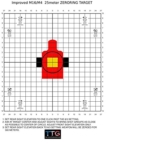 Ar 15 Carbine Stock (Improved M4 AR15 M16A2 25 Meter Zeroing Targets (Red w/ Yellow Center, 50 pack + 5 free))