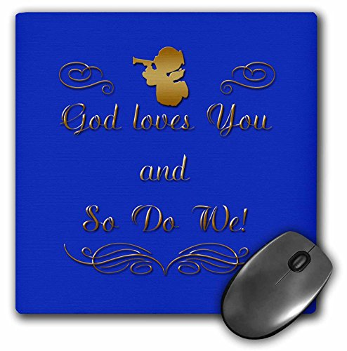 3dRose 777images Designs Christian - God loves you and so do we, in gold letters and a gold cherub on a blue background. - MousePad ()