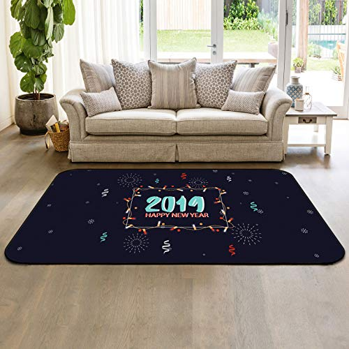 Snowflakes Collection Area Rug Indoor Carpets 5'x7' Happy New Year 2019 Celebration Floor Mats for Kids Room Living Room Home Decor (Best Budget Vacuum Cleaner 2019)
