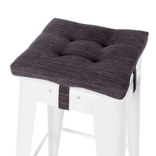 baibu Square Seat Cushion, Super Soft Bar Stool Square Seat Cushion with Ties, Gray-Black 12