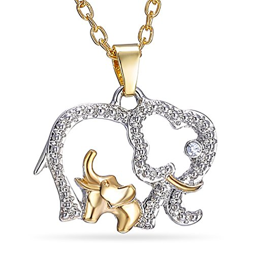 Katie's Style Elephant Crystal Necklace Mother Child Good Luck Two Tone Pendant