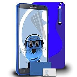 iTALKonline Samsung Galaxy Note 4SM-N910T TPU S Line Wave caja del gel híbrida Piel de protección Jelly cobertura, Protector de pantalla LCD y Auriculares 3,5mm Soporte Retráctil Mini lápiz capacitivo