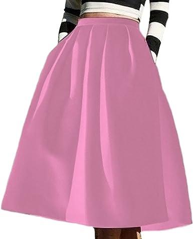 ZhuiKun Mujer Falda Plisada Falda de Playa Faldas Midi con el ...