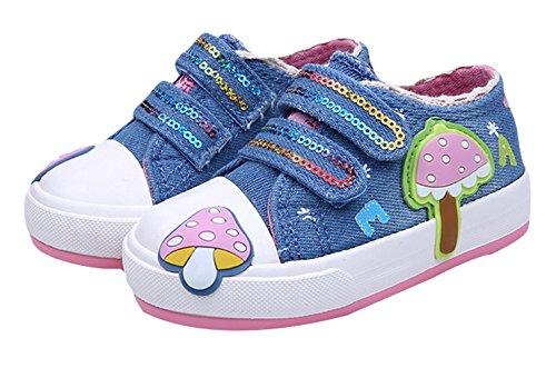 EOZY Kinderschuhe Mädchen Canvas Turnschuhe Pilze Laufschuhe Sneaker Blau