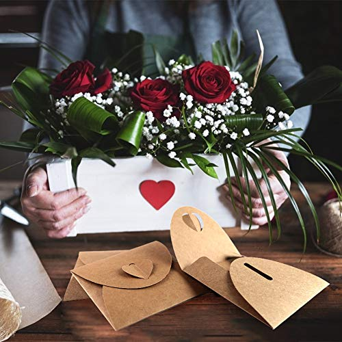 HAKACC Kraftpapier CD Hülle, 60 Stück CD-Hüllen Kuverts Kraftpapier Umschläge mit Herz Verschluss für CD DVD Hochzeit Party Weihnachten Valentinstag Geschenkkarten