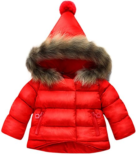 Jojobaby Baby Boys Girls Hooded Snowsuit Winter Warm Fur Collar Hooded Down Windproof Jacket Outerwear (18-24 Months, Red)