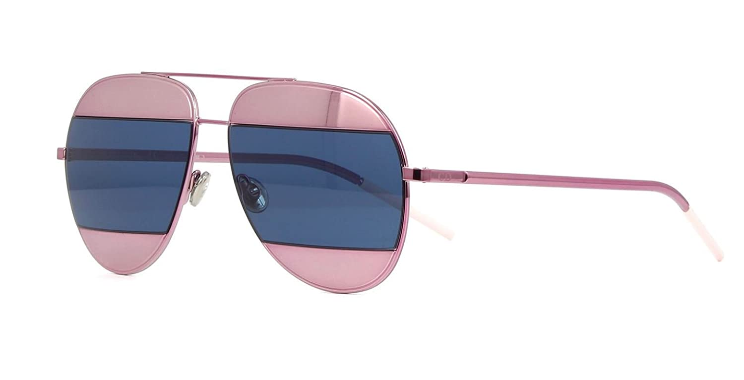 a53020736c758 Amazon.com  New Christian Dior SPLIT 1 02T8F Pink Blue Aviator Women s  Sunglasses  Clothing