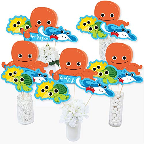 Under The Sea Critters - Baby Shower or Birthday Party Centerpiece Sticks - Table Toppers - Set of 15 -