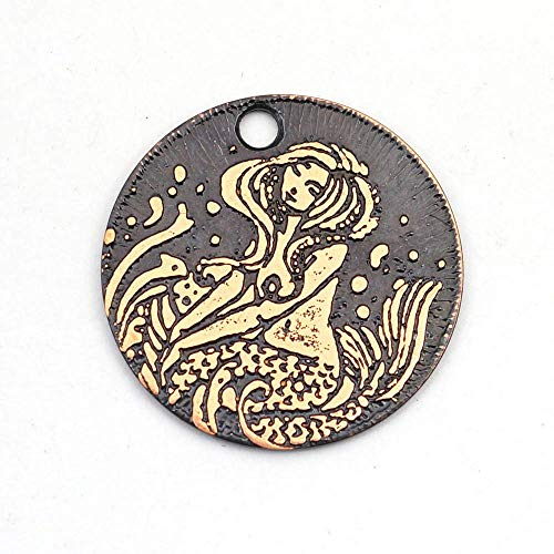 Small round handmade etched copper mermaid charm 22mm