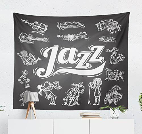 Summor Jazz-Music Wall Tapestry,Tapestry Wall Hanging Jazz Music Music Decorative Chalkboard with and Vinyl Jazz Chalk Doodle WallDecor for Bedroom Living Room Tablecloth Dorm 80x60 Inches