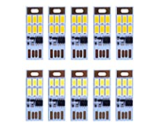 HUAHA 10pcs mini USB power night light,each one has 6 LED night lights with touch dimmer warm&white light. Features:  - 1W 5V power, low consumption.  - Small size, easy to carry and convenient to use. - Double-sided USB design, both of s...